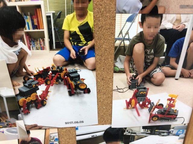 ロボット教室で相撲ロボ対決